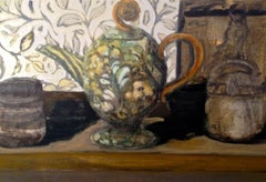 Tea Two, Still Life Painting with Teapot and Floral Pattern in Green, Gold