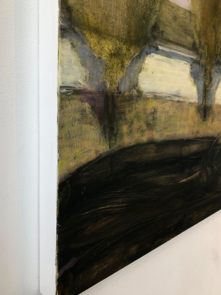 Tooling, Square Landscape Painting of Two Figures in Car with Row of Green Trees For Sale 3