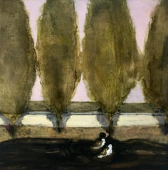 Tooling, Square Landscape Painting of Two Figures in Car with Row of Green Trees