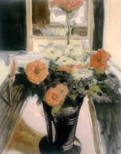 Vase with Zinnias, Large Still Life Painting of Vase of Orange and White Flowers