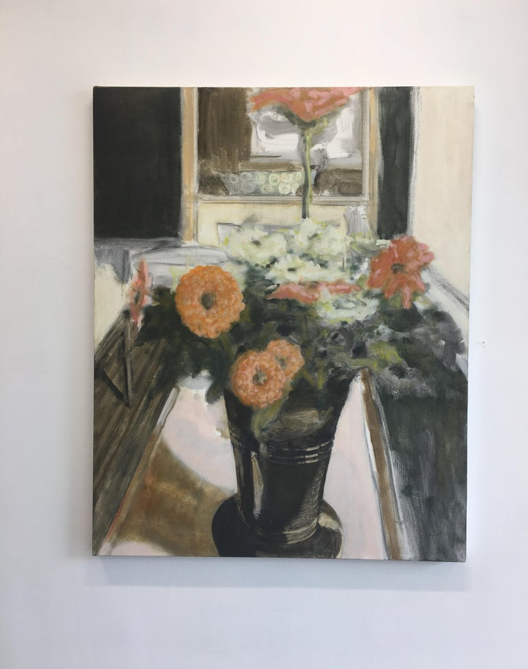 Vase with Zinnias, Large Still Life Painting Vase of Coral and White Flowers - Brown Still-Life Painting by David Konigsberg
