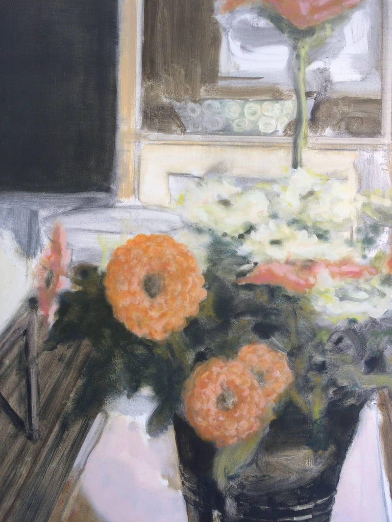 Vase with Zinnias, Large Still Life Painting Vase of Coral and White Flowers For Sale 1