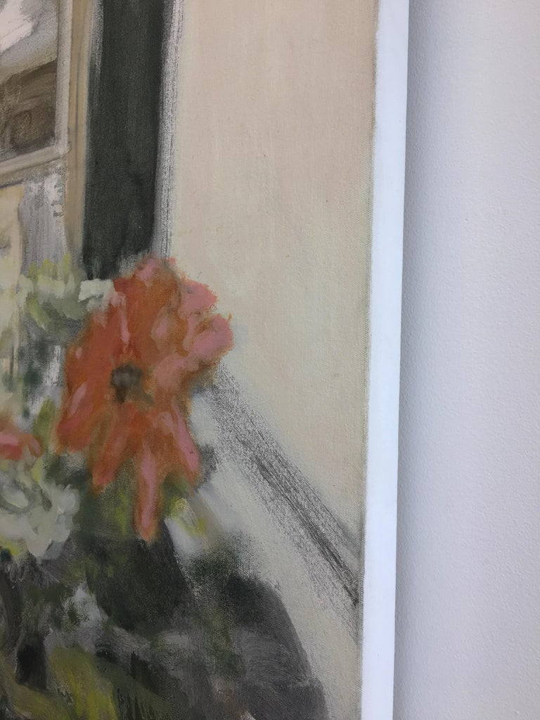Vase with Zinnias, Large Still Life Painting Vase of Coral and White Flowers For Sale 2