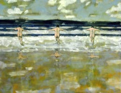 Wave Jumpers, Large Beach Painting of Nude Figures in Waves, Blue, Green, White