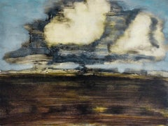 West Wind (Abstracted Landscape of Country Field, Clouds, and Light Blue Sky)