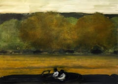 Wide Field, Landscape Painting of Two Figures in Car, Gold, Brown, Green Trees