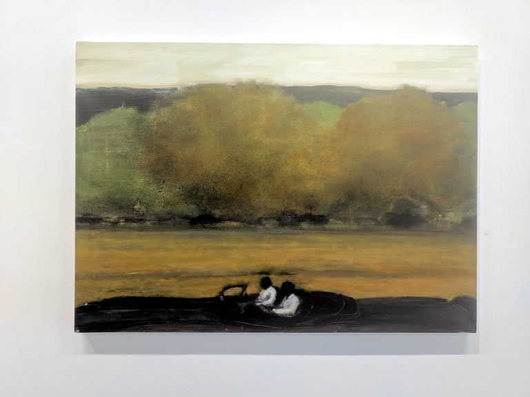 Wide Field, Landscape Painting with Two Figures in Car, Gold and Green Trees For Sale 1