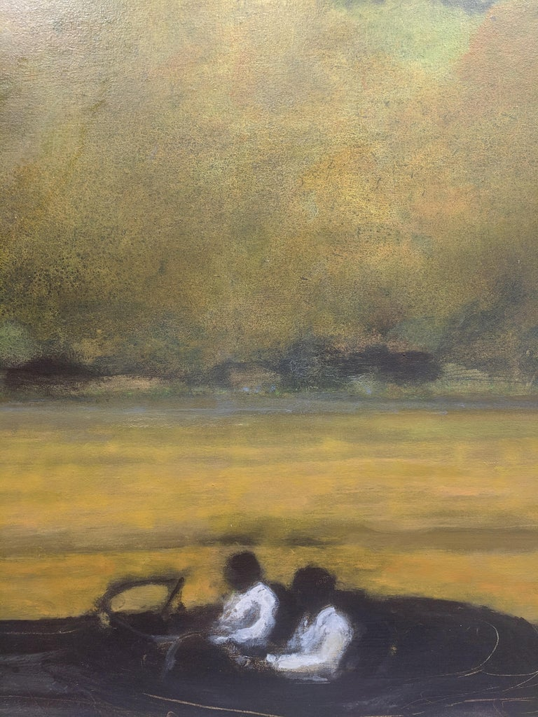 Wide Field, Landscape Painting with Two Figures in Car, Gold and Green Trees For Sale 2