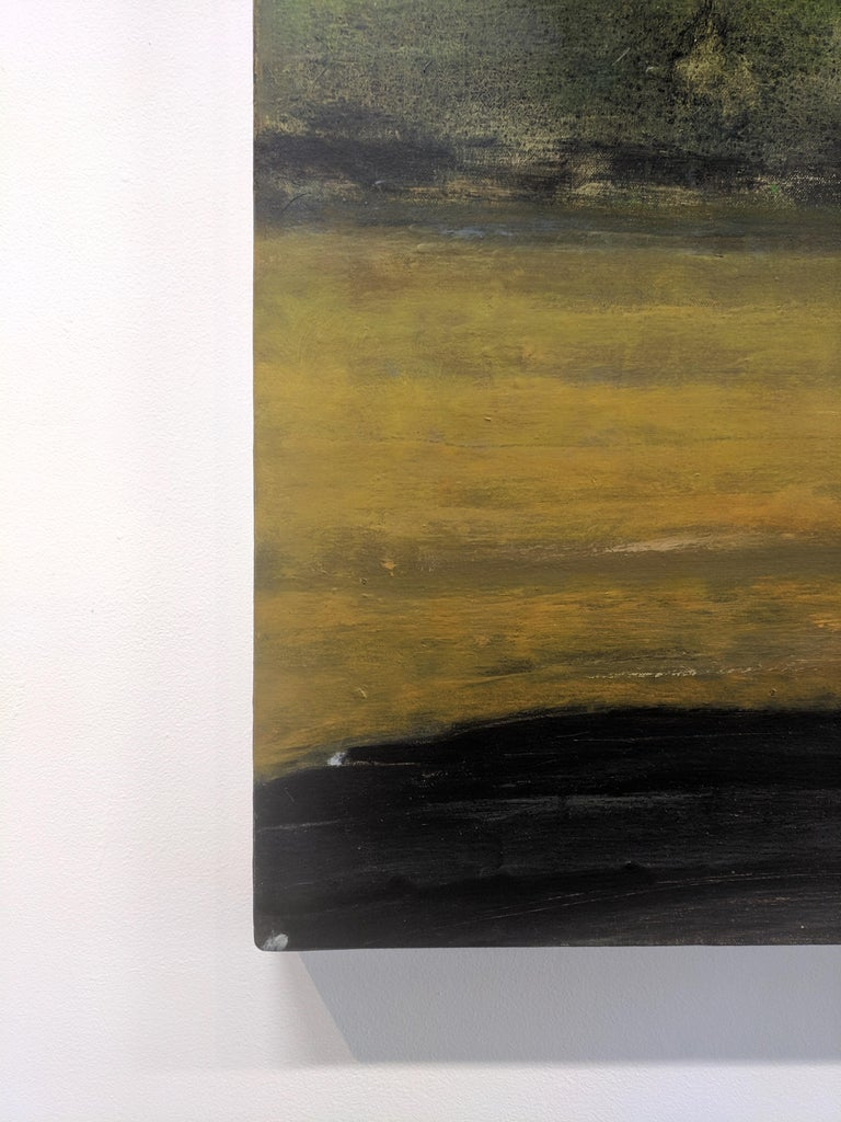 Wide Field, Landscape Painting with Two Figures in Car, Gold and Green Trees For Sale 3