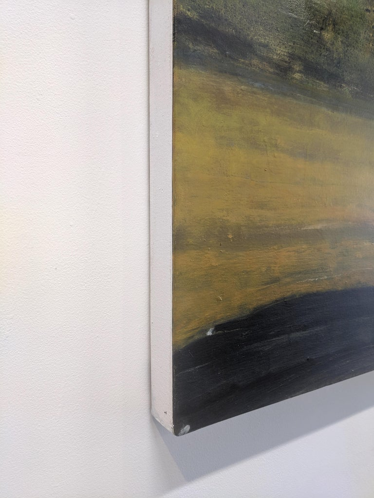 Wide Field, Landscape Painting with Two Figures in Car, Gold and Green Trees For Sale 4