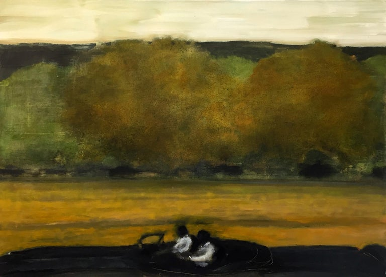 The dramatic landscape in New York State's Hudson Valley is captured in this landscape painting by David Konigsberg. This painting is one of his best - two figures clad in white in a black car pass by a golden field with green and gold trees, dark