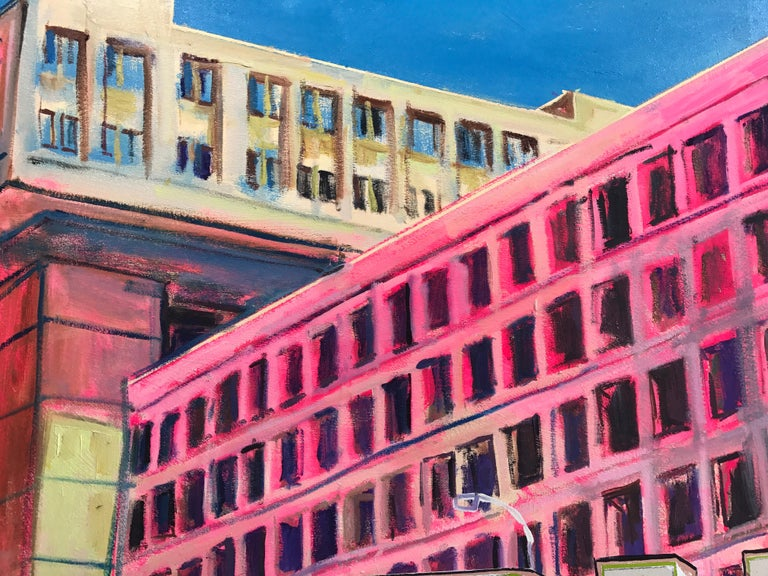 This conceptual text based painting by New York artist, David Kramer, combines stylized painting of the FBI Building in Washington DC and the bold text: BRUTAL.  An architecture joke, the subtitle reads: