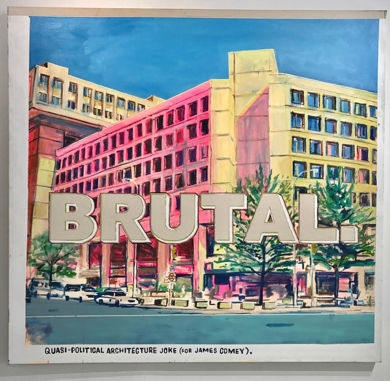 """David Kramer Abstract Painting - """"Architecture Joke"""" Conceptual Text Based Painting"""
