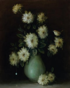 """""""Floral Still Life (Wren and Vase)"""" still life oil painting with flowers, bird"""