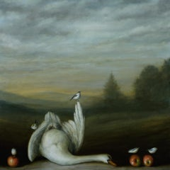 """""""Landscape (Swan)"""" still life oil painting with swan"""