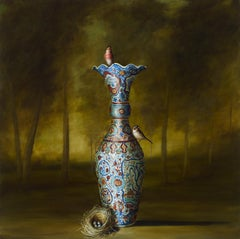 """Vase and Nest"" still life painting vase birds trees nest landscape"