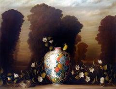 """""""Vase, Nest and Flowering Vine"""" still life painting vase bird flowers landscape"""