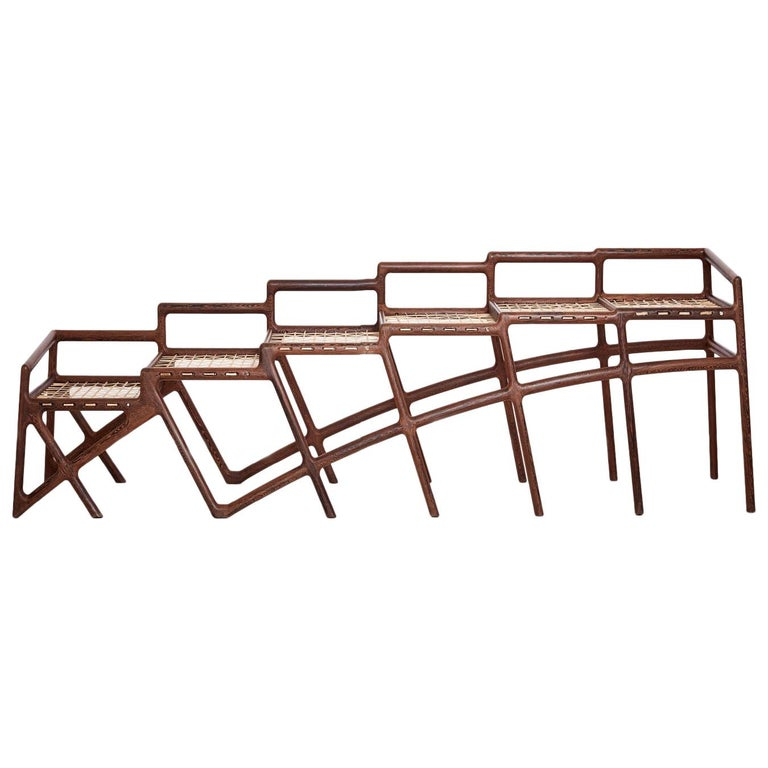 "David Krynauw, ""Jeppestown Waiting Bench"", Wenge and Cowhide String For Sale"