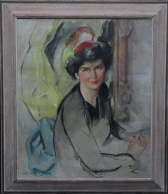 Portrait of Woman in Red Hat - American 50s art Post Impressionist oil painting