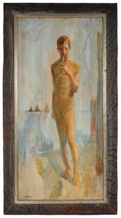 """Youth"" Mid 20th Century Oil Painting of Young Man with Flute"