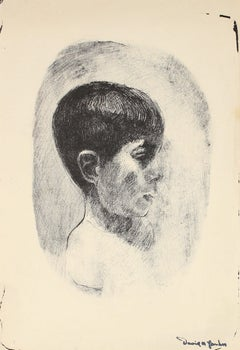 Monochromatic Stone Lithograph of a Boy Mid 20th Century