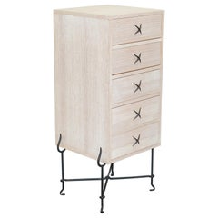 David Lange Bleached Oak Tallboy Chest of Drawers Wrought Iron Base Part Suite