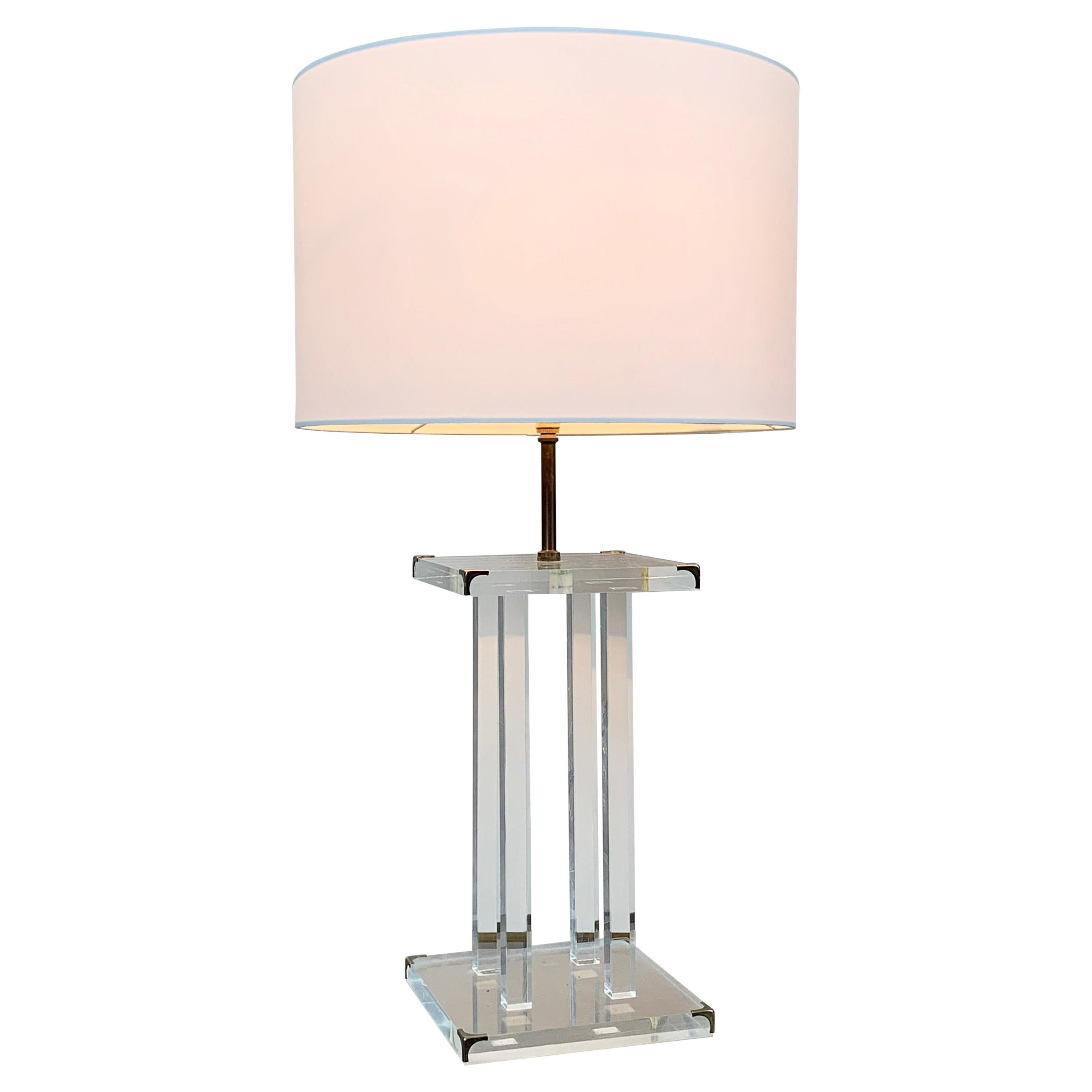 David Lange for Roche Bobois Lucite Table Lamp