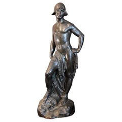 """""""David,"""" Large, Superb Bronze with Half-Nude Male Figure by Atkins"""