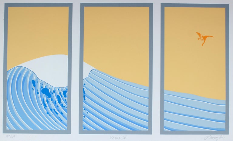 "David Lavington Landscape Print - ""Wave IV"" Silkscreen Print in Blue and Yellow with an Asian Aesthetic"