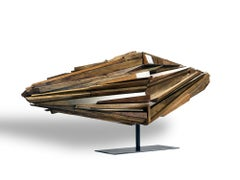 """""""Everyman"""" Large Abstract Wood Sculpture by David LeCheminant, Natural Colors"""