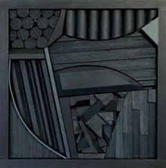 Modern Wood Sculpture 'Night Vision' Black Wooden Art, Geometric Constructivism