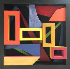 Modern Wood Sculpture 'The Souk' Colorful Wooden Art, Geometric Constructivism