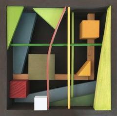 Modern Wood Sculpture 'White Cube' Colorful Wooden Art, Geometric Constructivism