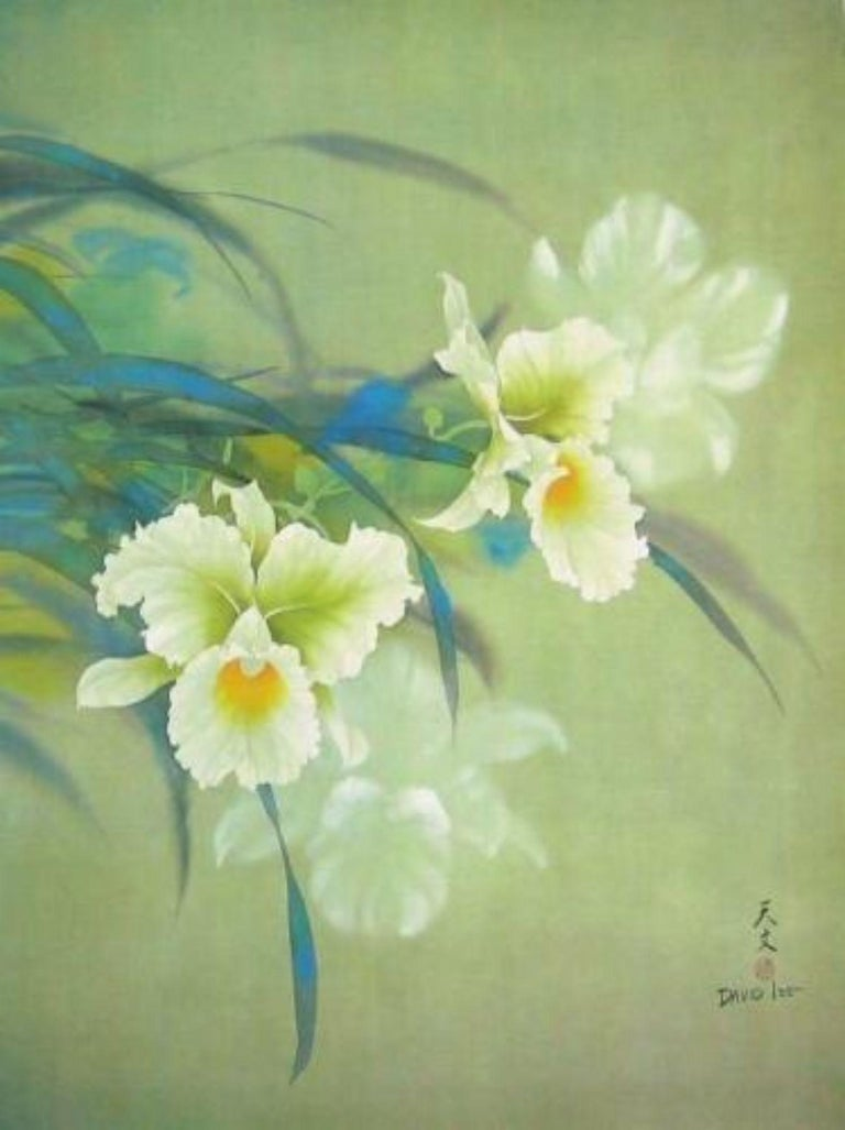 White Orchid, Original Lithograph, David Lee - Print by David Lee