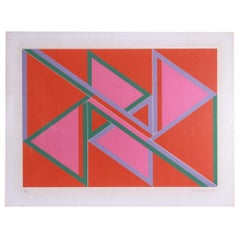 David Leverett Untitled Serigraph Artwork in Pink and Red