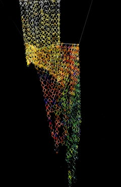 Fall Cascade, Long Hanging Sculpture of Torch-Worked Glass in Chain Maille Links