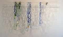 Frozen I, Hanging Sculpture of Torch-Worked Glass in White, Blue, Green Loops