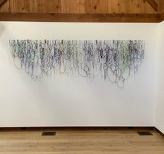 Mianas Moss, Large Hanging Wall Sculpture with Blue, Green, Brown Glass Loops