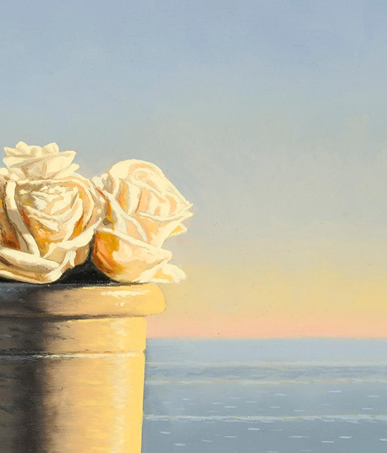 Still Life with White Roses in Pot - Painting by David Ligare