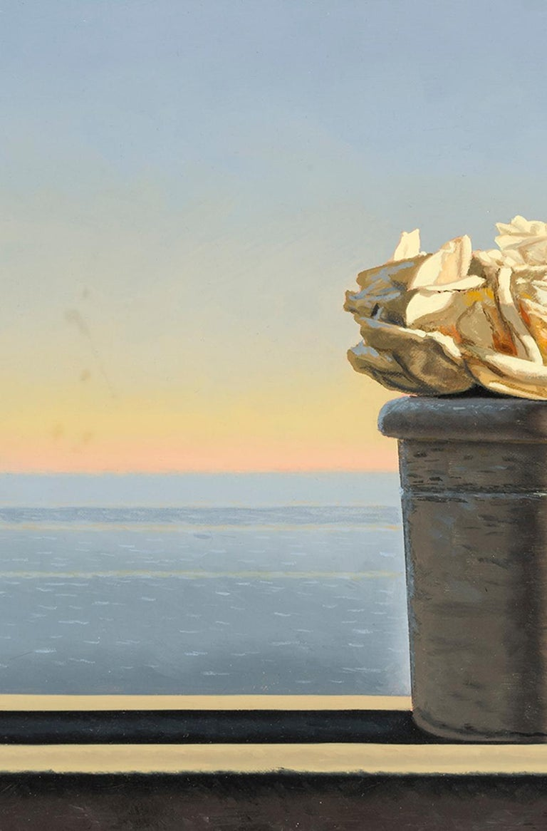 Still Life with White Roses in Pot - Contemporary Painting by David Ligare