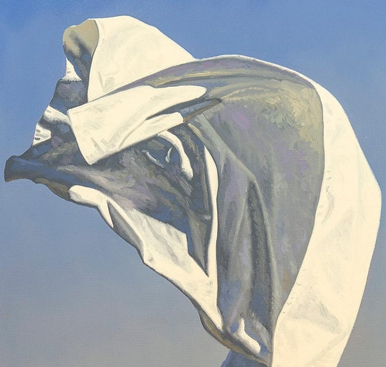 Thrown Drapery (Redux) Study 1  - Gray Still-Life Painting by David Ligare