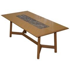 David Linley Newlyn Sycamore Wood and Marble Hayrake Dining Table