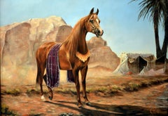 After the Desert Storm, Arab Horse oil on canvas painting