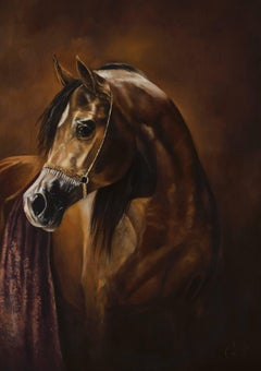Arab Brown Lucky 23 Horse realism animal painting