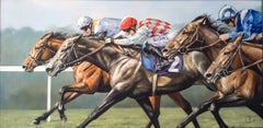 Race Horses , Animal Painting, Figurative, Oil on Canvas, 21st Century