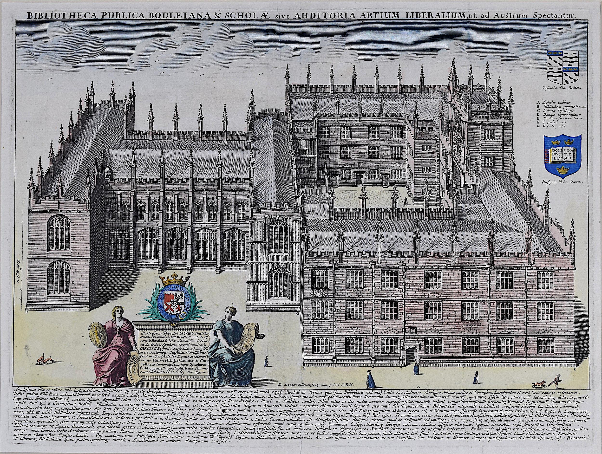 David Loggan Bodleian Library Oxford Aerial view 1675 engraving Bibliotheca