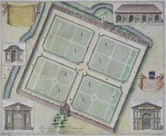 David Loggan Botanic Gardens Oxford Engraving 1675