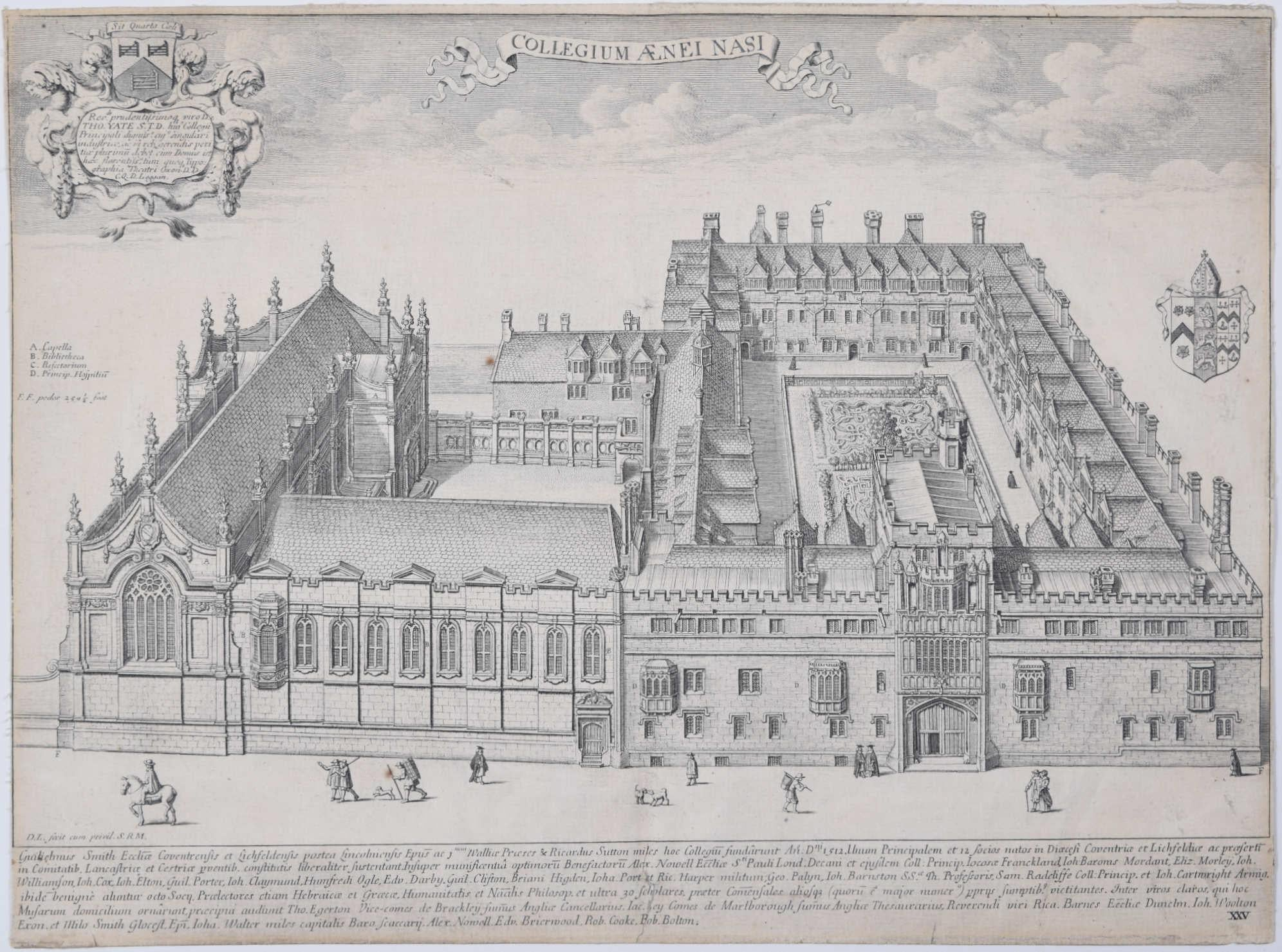 David Loggan Brasenose College Oxford Collegium Aenei Nasi Print 1675 engraving