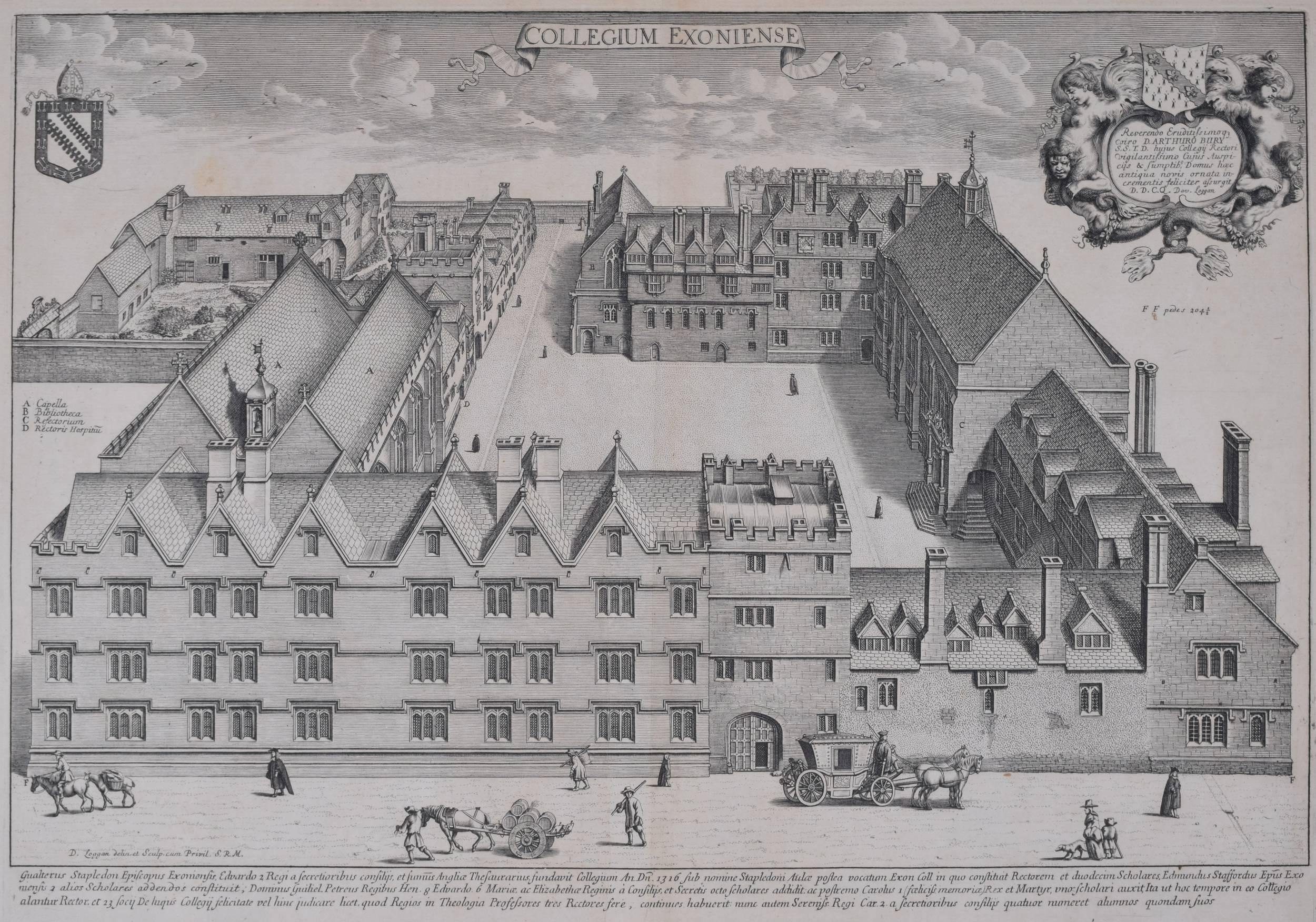 David Loggan Exeter College, Oxford Engraving 1675