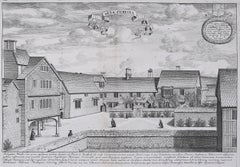 David Loggan Hertford College Oxford Hart Hall engraving 1675 Aula Cervina